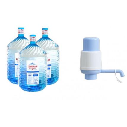 Комплект воды Горная вершина (разовая тара) 19л + Помпа механическая