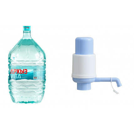 Комплект воды Архыз (разовая тара) 19л + Помпа механическая